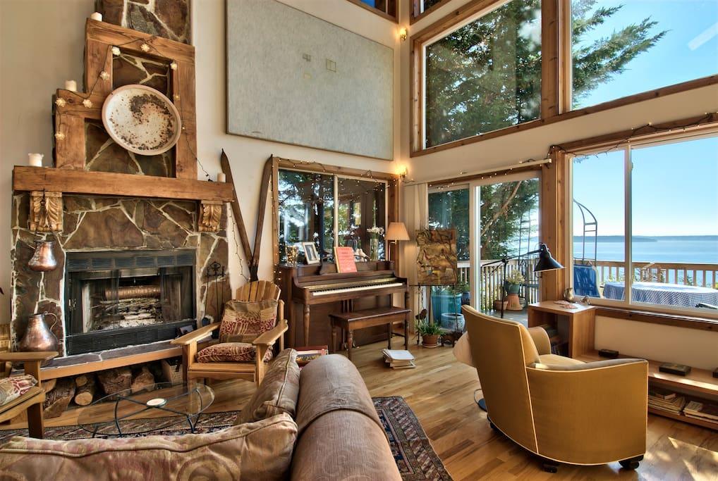 Living room looking southwest toward Vashon Island