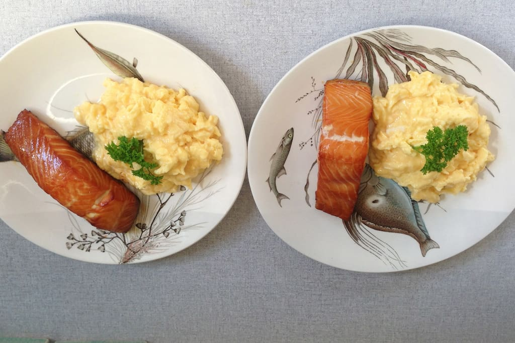 Frances's cooked breakfast - local smoked salmon and scrambled eggs.