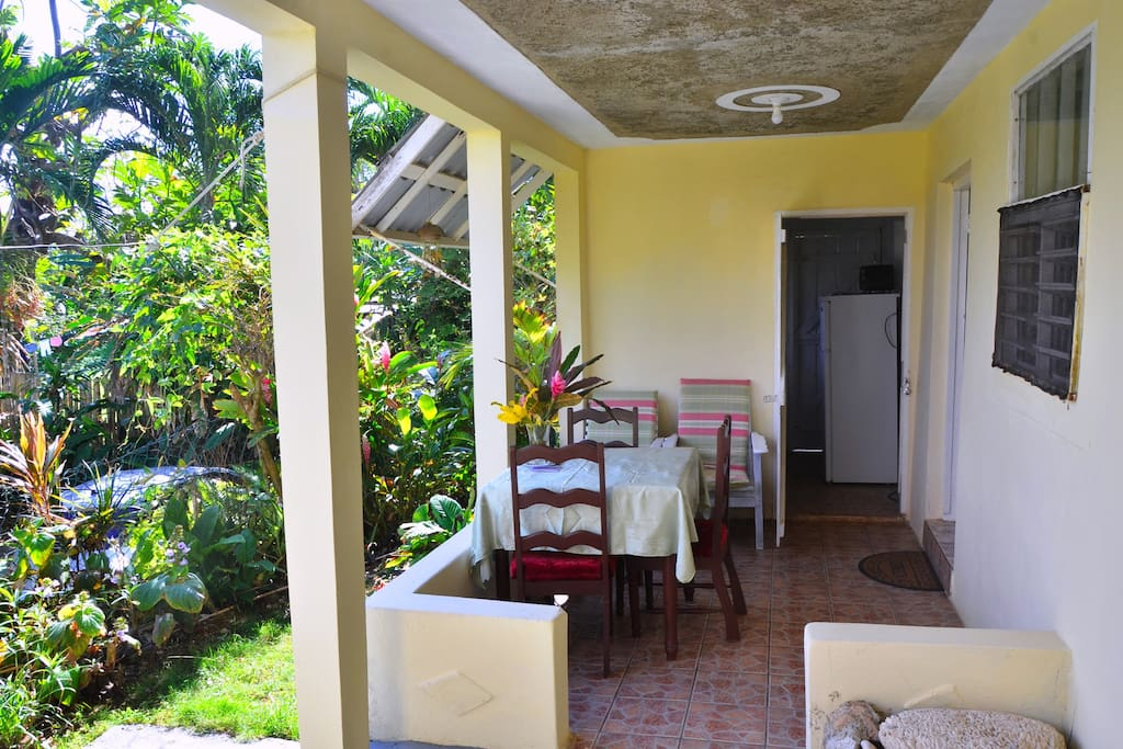This is your own private porch here at Likkle Paradise. Feel free to relax here all day taking in the cool trade wind breezes or walk across to the beach where most spend their days frolicking in the sea and sun.