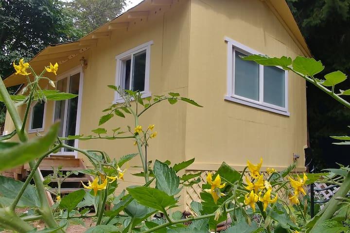 Sunny Backyard Cabin - Great Bed and Soaking Tub