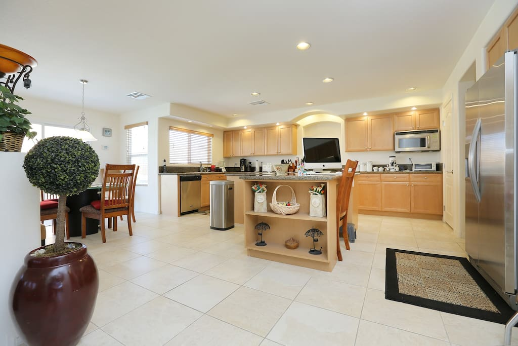 Large spacious kitchen with high end appliances.