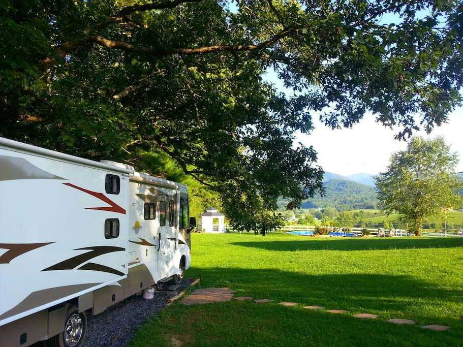 Location of motorcoach on our property with breathtaking views of the mountains!