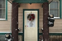 Entrance to Red Fox Townhouse. See the  baby black bears that Welcome you!  Snowstorm yesterday, ski slope is OPEN!!