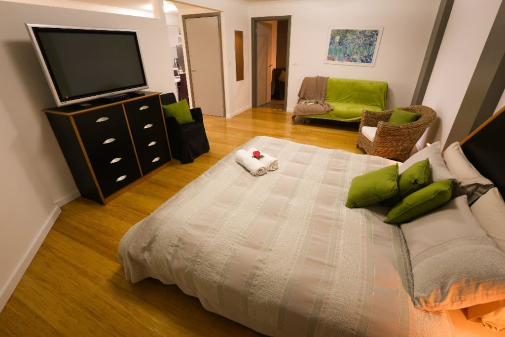 Big TV in bedroom area. There is also an European sofa bed for kids or extra adult.