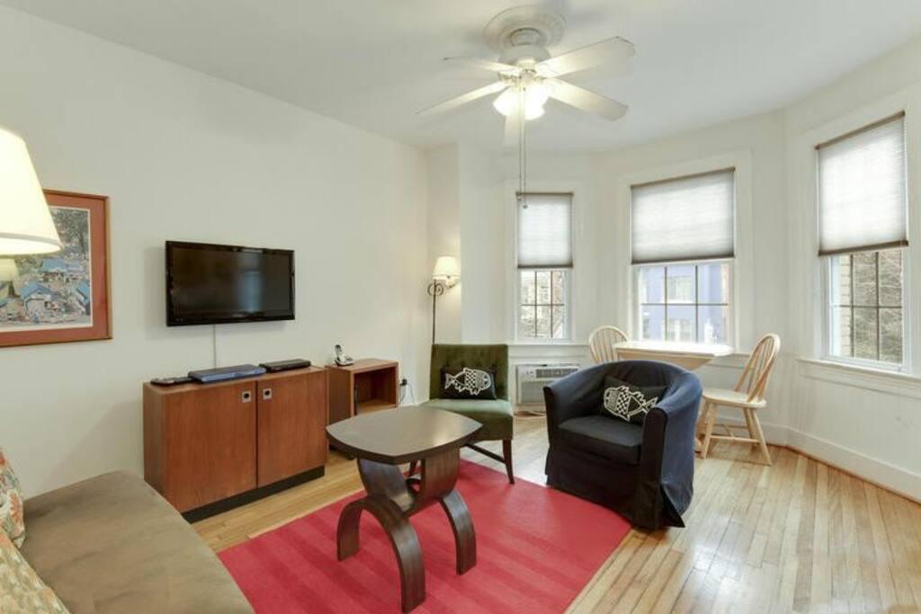 living room with big windows