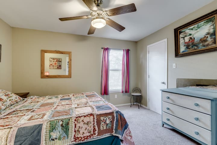 A queen size bed & dresser space makes this a cozy second bedroom. This walk in closet houses some extras that are available~ blankets, bedding, and an air bed.