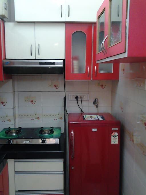 Fully equipped kitchen with fridge, gas connection, microwave and utensils!