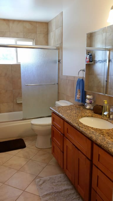 Guest bathroom for your use, shared with my Dad and any other Airbnb guests.