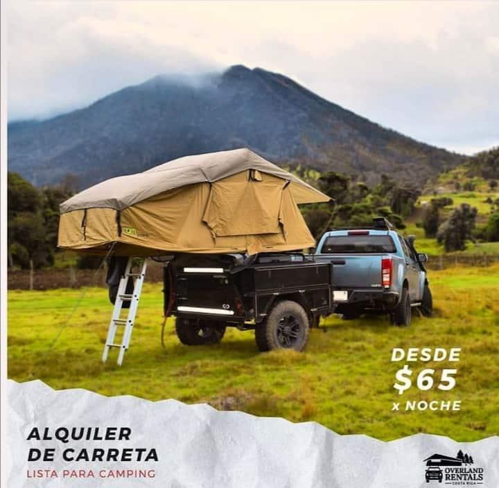 Carreta equipada para camping en Costa Rica