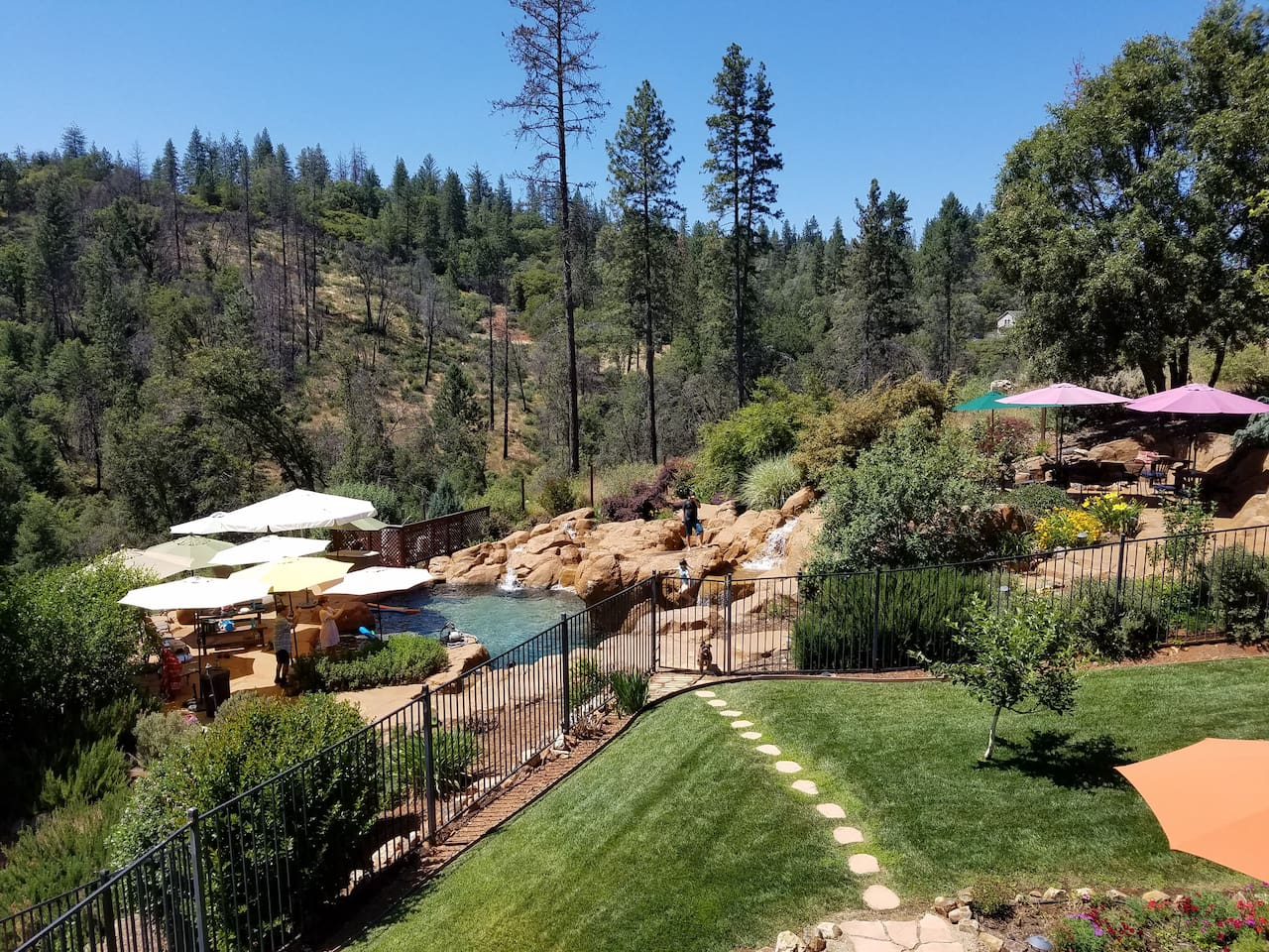 "Our ""Mini Resort"" includes 3 waterfalls, jump rocks, a shallow play area, spa, fire pit and lush gardens overlooking the forest. Close to lakes, Tahoe, Sacramento, hiking and recreational areas."