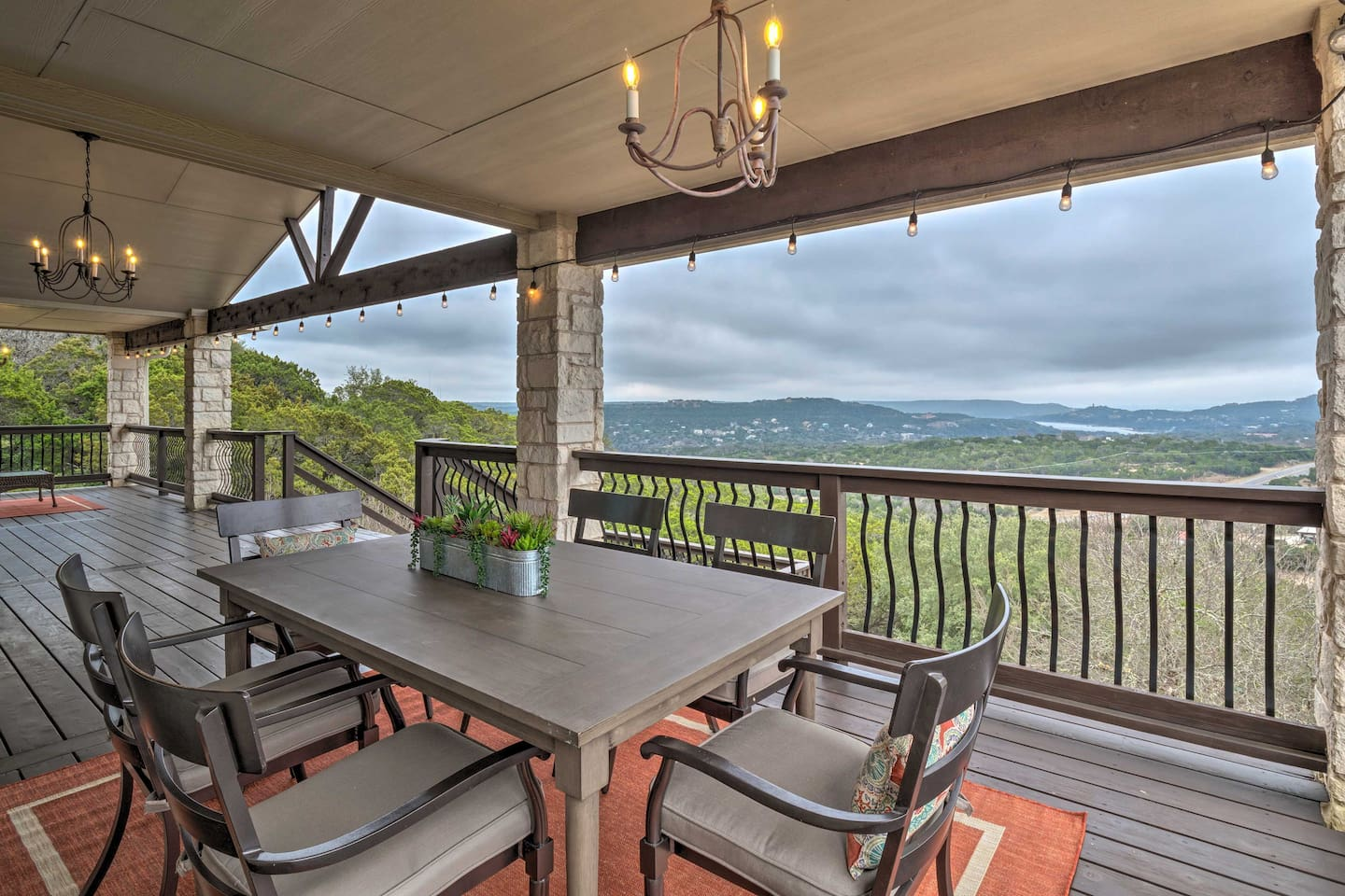Enjoy views for miles from the deck of this Jonestown vacation rental house.