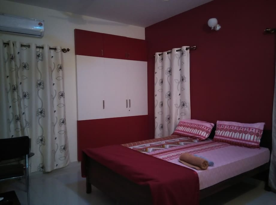 Air conditioned room well furnished