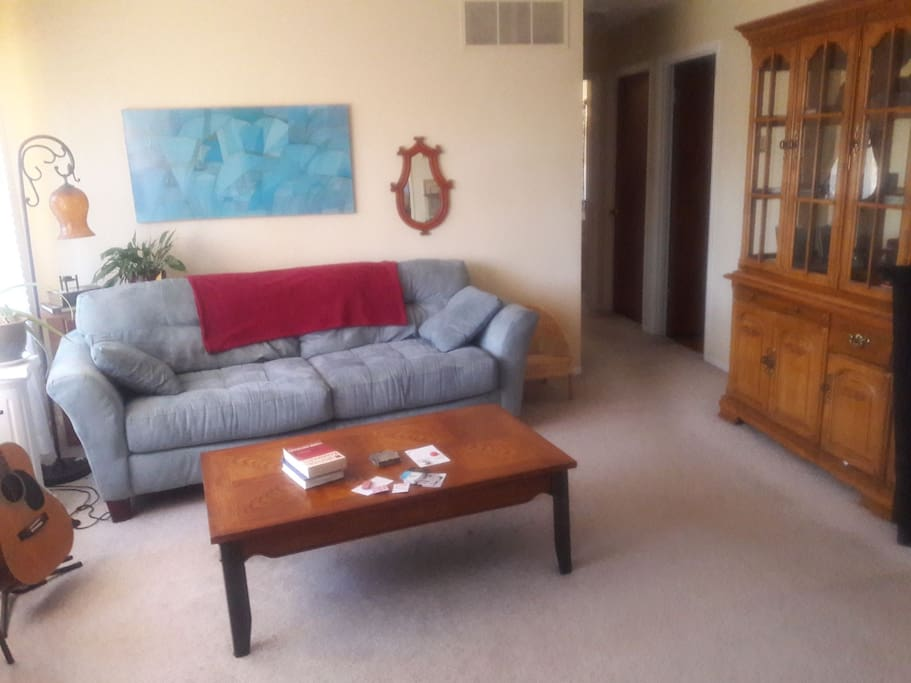 living room, couch is available as an extra sleeping space if needed