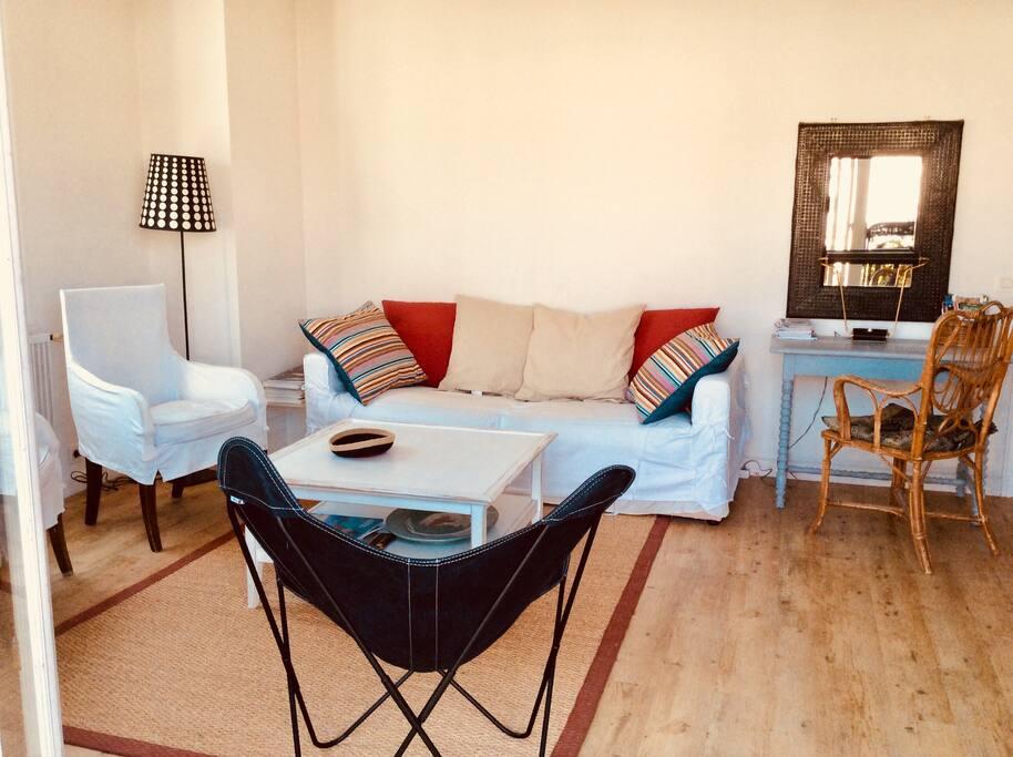 Salon  bien confortable pour 6 personnes en accès direct sur le balcon. TV 1m de diagonale. WIFI