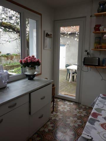 on voit la cuisine de plain pied avec la cour intérieure