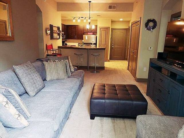"50"" Samsung Smart TV. 2 new sleeper sofas have been added.  Both full size. Couch pictured has been removed. Private veranda."