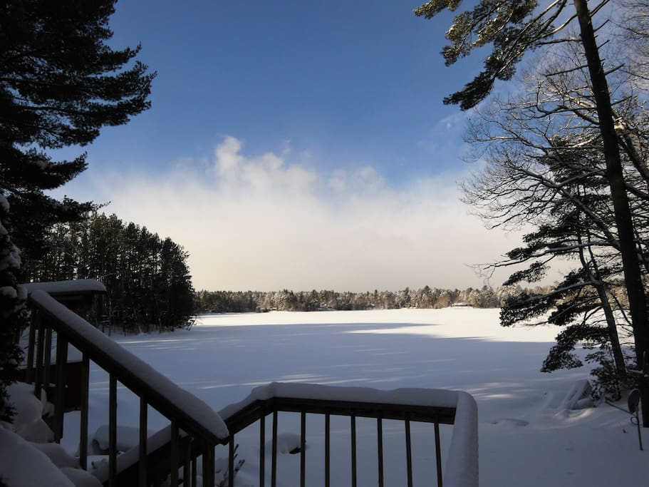Wintertime view of Lost Lake...swim at your own risk! Or bring an ice auger and try your hand at ice fishing. Lost Lake boasts bass, perch, northern pike, and other panfish.