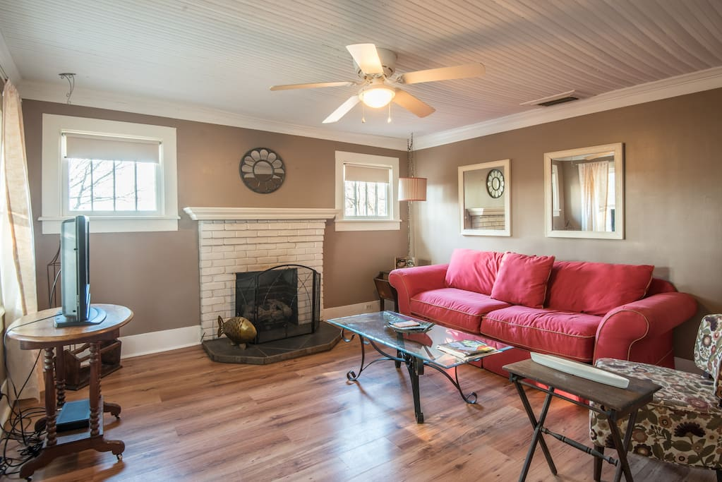 Living room with sleeper sofa and gas fireplace