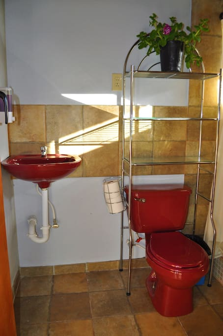 Bathroom which you will share with the other 2 guests in Hortus Locus 2.