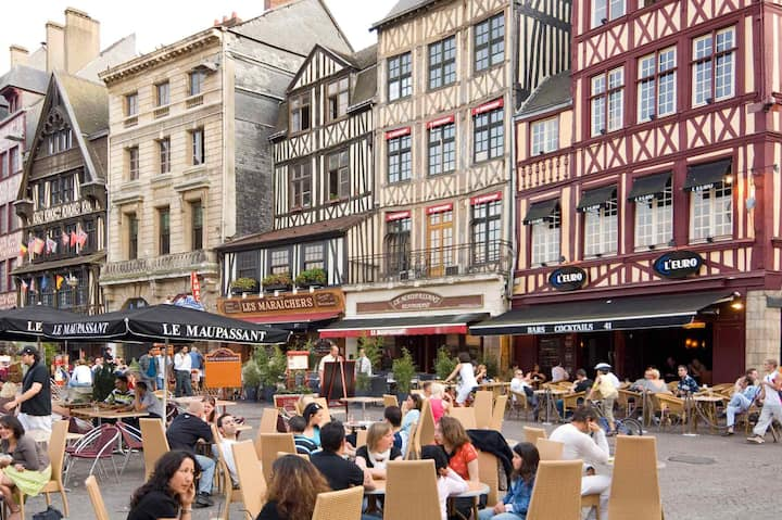 Medieval plazza in Rouen, Normandy