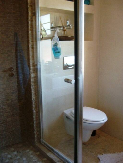 the private bathroom with shower / toilet