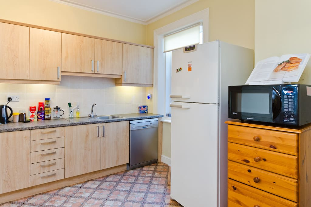 Electric Oven, Gas Hob, Microwave Oven, Fridge Freezer, Dishwasher, Tassimo coffee machine, kettle & toaster.
