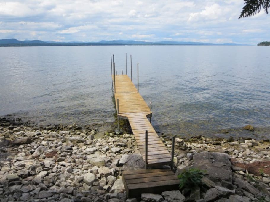 Beach and dock, with ladder for swimming