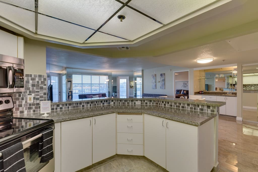 Modern, large kitchen with stainless steel appliances