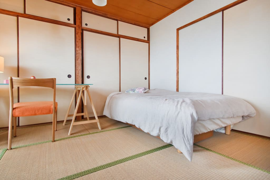 Traditional Japanese style room. If you prefer it even more traditional, we'll prepare you a futon.