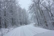 A snowy winter day in the Endless Mountains of Pa on way to our family Lake Lodge