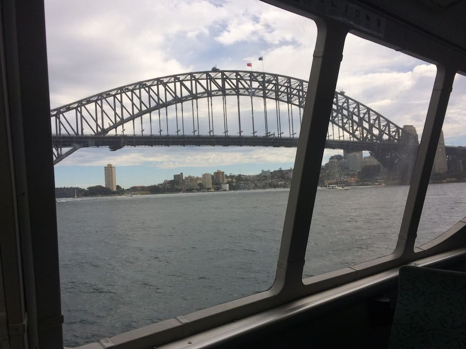 Sydney harbour bridge from ferry available close by