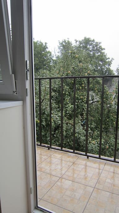 Balcony with view on a garden.