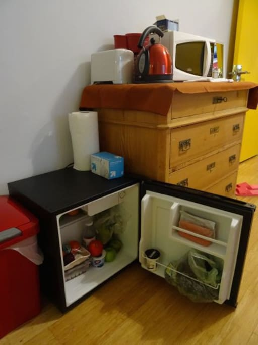 .. dorm fridge, tea kettle, coffee maker, toaster, and microwave oven. The WiFi Internet is very strong and the fastest that one can get (Comcast Blast).