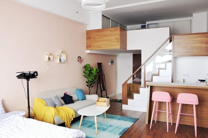 Room2-只做低价中长租!LOFT楼中楼配备百寸高清投影仪!市中心BRT沿线 速达机场动车站-