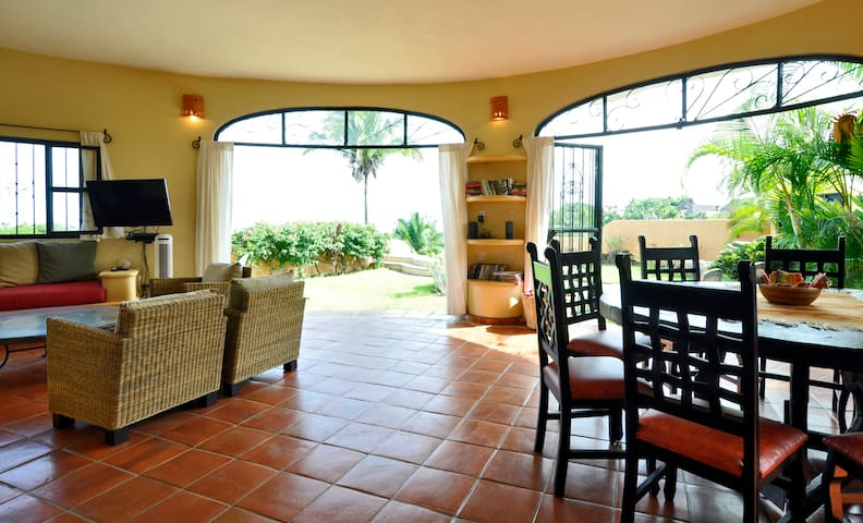 View through the living area to the garden