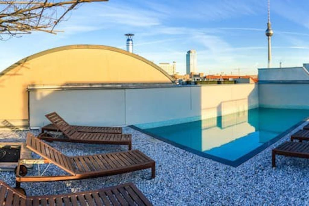 Shared rooftop terrace with swimming pool. Please check out my house rules regarding use of rooftop garden.