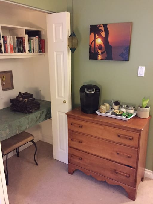 The room includes a dresser to help you get organized and a Keurig for a complementary coffee and/or tea