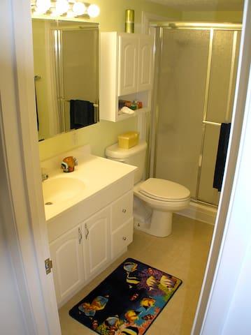 Bathroom. Even has a wall mount hair dryer