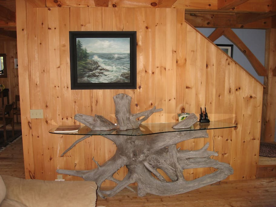 Homemade table from the driftwood found at the beach
