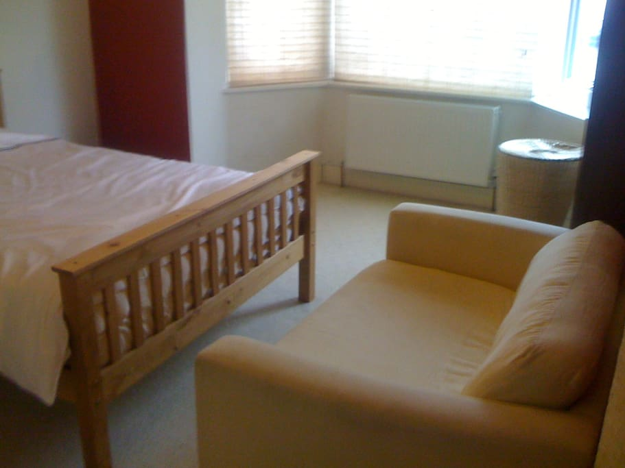 Double bed and single sofa bed