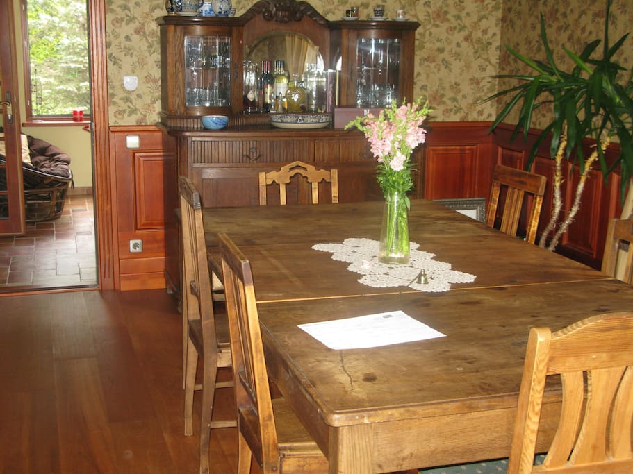 Antique, restored furniture of the dining room,