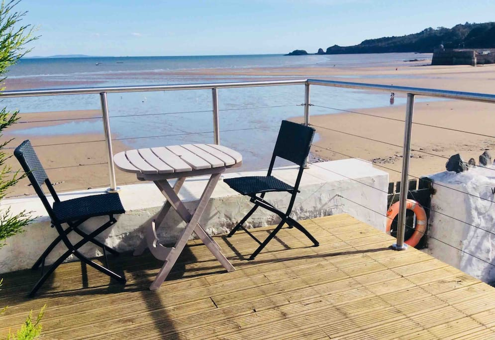 The decking area and beach access