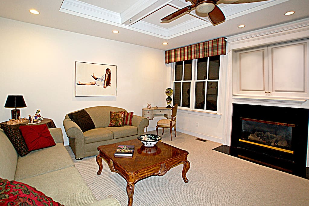 Cozy, second floor den with fireplace and WiFi right outside your room.