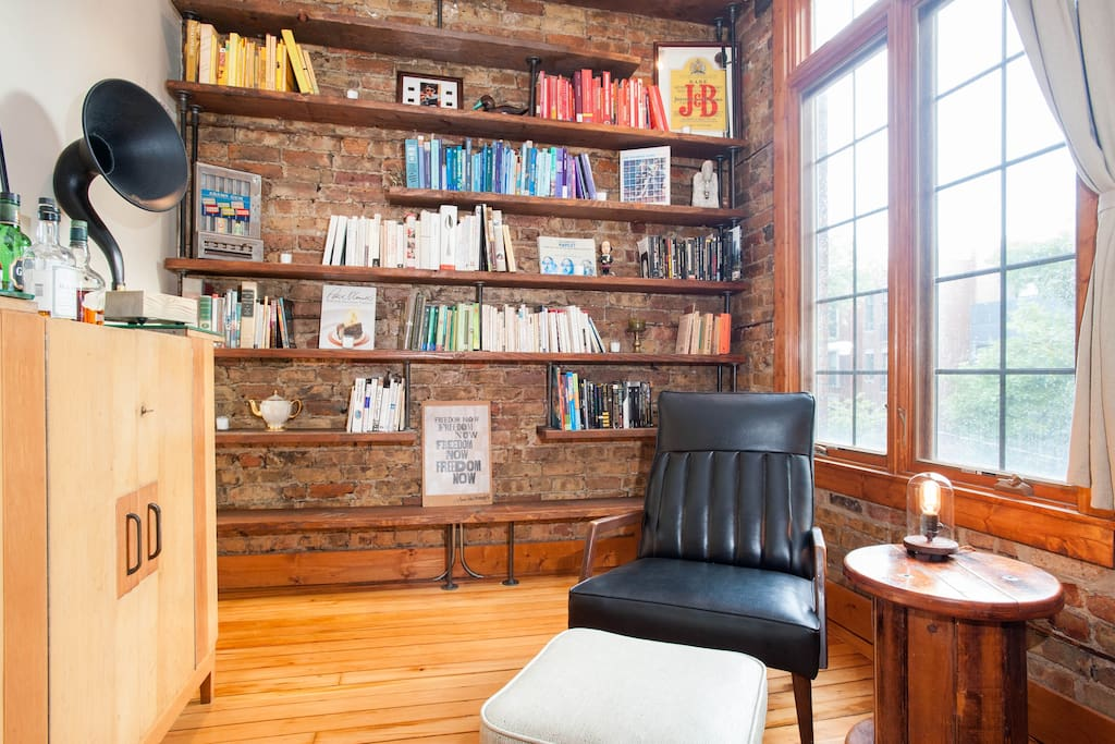 Custom-built bookshelves and reading nook