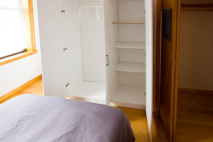 There is a wardrobe for your belongings in the bedroom.