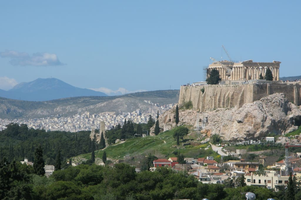 View to Acropolis from the balcony of the apartment