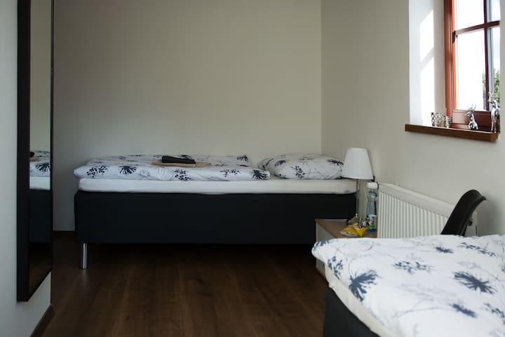 Pokoj se dvěma oddělenými lůžky v hotelu Dania