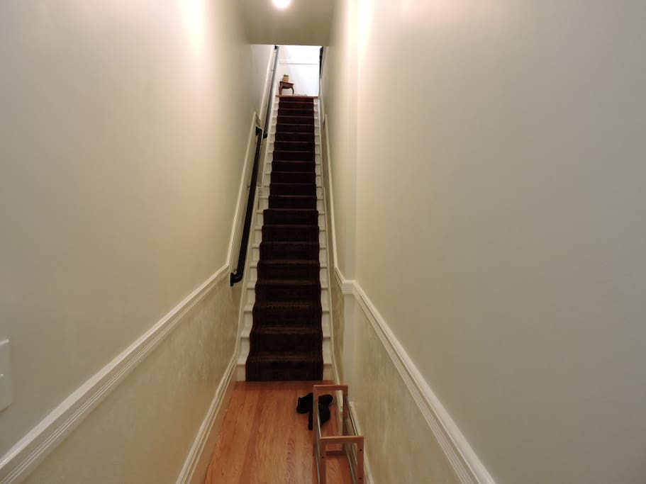 Staircase leading from front door into the flat