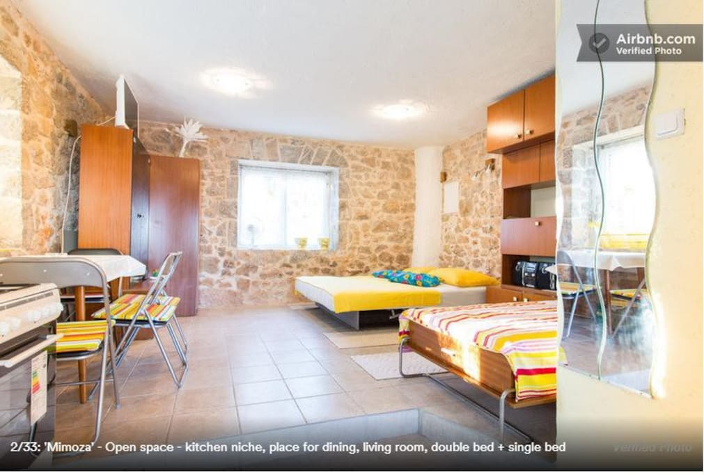 Open space - kitchen niche, place for dining, living room, double bed + single bed