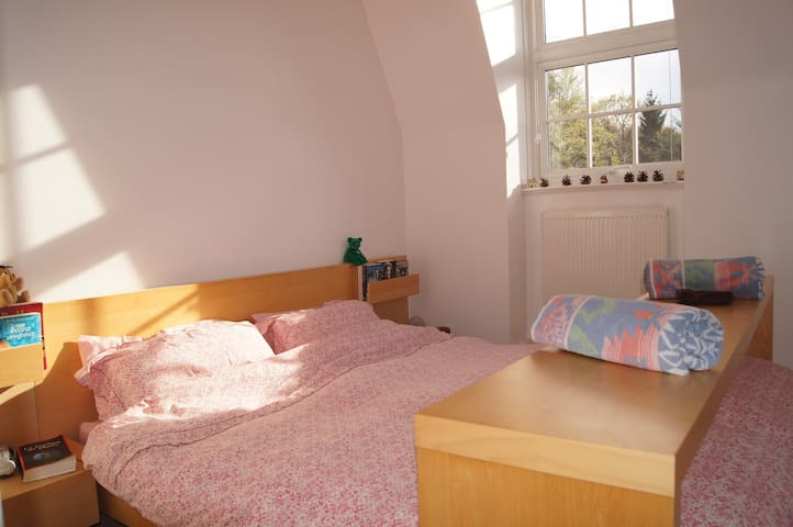 The guest bedroom is light and airy and has built-in wardrobes
